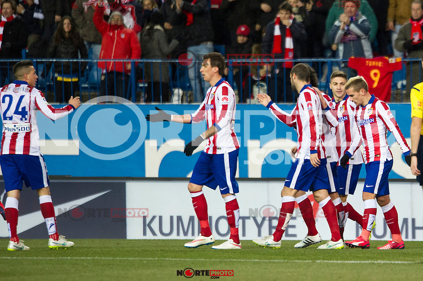 Atletico de Madrid&acute;s Antoine Griezmann, Gimenez, Mario Mandzukic, Mario Suarez, Guilherme Siqueira during 2014-15 La Liga match between Atletico de Madrid and Rayo Vallecano at Vicente Calderon stadium in Madrid, Spain. January 24, 2015. (ALTERPHOTOS/Luis Fernandez) /NortePhoto<br />