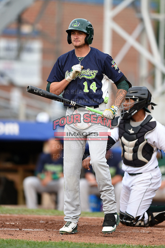 Vermont Lake Monsters outfielder Dayton Alexander (14) at bat during a game against the Jamestown Jammers on July 12, 2014 at Russell Diethrick Park in Jamestown, New York.  Jamestown defeated Vermont 3-2.  (Mike Janes/Four Seam Images)
