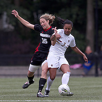 NC State midfielder Kristina Argiroff (15) encounters stiff defense from Boston College midfielder/defender Casey Morrison (3). Boston College defeated North Carolina State,1-0, on Newton Campus Field, on October 23, 2011.