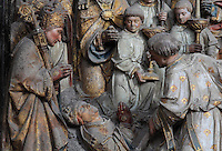 Exhumation of the remains of St Firmin, Gothic style polychrome high-relief sculpture from the South side of the choir screen, 1490-1530, commissioned by canon Adrien de Henencourt, depicting the life of St Firmin, at the Basilique Cathedrale Notre-Dame d'Amiens or Cathedral Basilica of Our Lady of Amiens, built 1220-70 in Gothic style, Amiens, Picardy, France. St Firmin, 272-303 AD, was the first bishop of Amiens. Amiens Cathedral was listed as a UNESCO World Heritage Site in 1981. Picture by Manuel Cohen