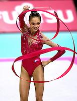 03 OCTOBER 1999 - OSAKA, JAPAN: Irina Tchachina of Russia performs with Ribbon at the 1999 World Championships in Osaka, Japan.