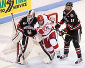 Chris Rawlings (NU - 37), Ben Rosen (BU - 8), Ben Oskroba (NU - 19) - The Boston University Terriers defeated the visiting Northeastern University Huskies 5-0 on senior night Saturday, March 9, 2013, at Agganis Arena in Boston, Massachusetts.