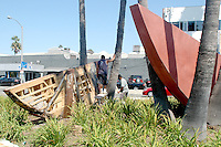 "Crew from Shoshana Wayne Gallery restores Mauro Staccioli's public art sculpture entitled, ""Untitled Homage to Jack Kerouac"" (1993) on Monday, September 12, 2011."