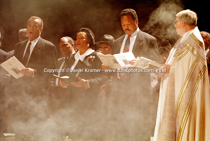 Harry Belafonte, Coretta Scott King and the Rev. Jesse Jackson at the funeral of labor leader Cleveland Robinson at the Cathedral Church of St. John the Divine in New York.