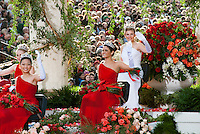 Floats for the New Year's Day Tournament of Roses Parade evolved from flower-decorated horse carriages into floats. The floats are required to be covered with plant material, living or dead.