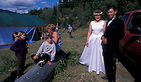 Bride & Broom at their Wedding at Tatlayoko Lake,.Chilcotin Country,.British Columbia, Canada