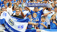 Fans from El Salvador supporting the team.  El Salvador National Team defeated Venezuela 3-2 in an international friendly at RFK Stadium, Sunday August 7, 2011.