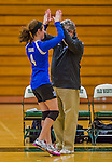 1 November 2015: Yeshiva University Maccabee Outside Hitter, Setter, and team co-Captain Shana Wolfstein, a Senior from Burlington, VT, gets a high-ten from Head Coach Joseph Agrest prior to facing the Old Westbury Panthers at SUNY Old Westbury in Old Westbury, NY. The Panthers edged out the Maccabees 3-2 in NCAA women's volleyball, Skyline Conference play. Mandatory Credit: Ed Wolfstein Photo *** RAW (NEF) Image File Available ***