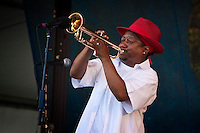 New Orleans born jazz trumpeter, singer and composer Kermit Ruffins of Kermit Ruffins and the Barbecue Swingers performing on the Gentilly stage at the New Orleans Jazz and Heritage Festival at the New Orleans Fair Grounds Race Course in New Orleans, Louisiana, USA, 1 May 2009.