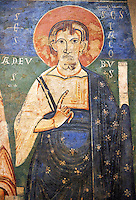 Ager Apostles: James and Thaddeus<br /> <br /> Late XI - XII century<br /> Fresco transferred to canvas from the Church of St. Peter Anger, Noguera, Spain.<br /> <br /> Acquisition of Museums Board's campaign in 1958. MNAC 65467<br /> <br /> Romanesque fresco ascribed to the so-called Pedret Painters of Ager.  Typical of this school is the composition or refinement in the modeling of faces with characteristic forehead, cheeks and neck, which show the quality of Painters. San Ager was one of the main centers of religious and political centres in the south of Urgell.