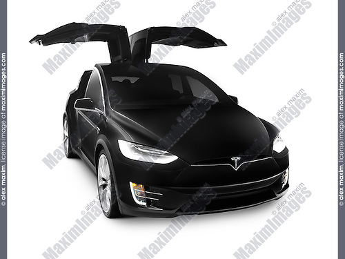 Black 2017 Tesla Model X luxury SUV electric car with open falcon wing doors isolated on white background
