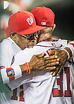 25 August 2016: Washington Nationals Manager Dusty Baker gives Max Scherzer a hug in the dugout after Scherzer completes 8 innings of shutout ball against the Baltimore Orioles at Nationals Park in Washington, DC. The Nationals blanked the Orioles 4-0 to salvage one game of their 4-game home and away series. Mandatory Credit: Ed Wolfstein Photo *** RAW (NEF) Image File Available ***