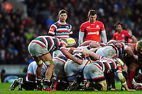 Ben Youngs of Leicester Tigers looks on at a scrum. Aviva Premiership match, between Leicester Tigers and Saracens on January 1, 2017 at Welford Road in Leicester, England. Photo by: Patrick Khachfe / JMP
