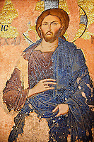 The 11th century Roman Byzantine Church of the Holy Saviour in Chora and its mosaic of the Khalke Jesus so called because it was inspired by and icon from the Khalke Palace.  Endowed between 1315-1321  by the powerful Byzantine statesman and humanist Theodore Metochites. Kariye Museum, Istanbul