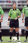 07 September 2014: Referee Christina Unkel. The University of North Carolina Tar Heels played the University of Arkansas Razorbacks at Koskinen Stadium in Durham, North Carolina in a 2014 NCAA Division I Women's Soccer match. UNC won the game 2-1.