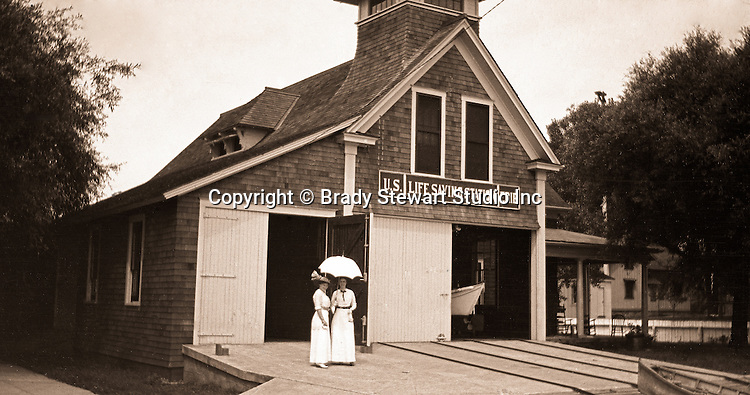 Erie PA: View of Lake Erie Life Saving Station - 1915.  Sarah Stewart and her sister posing in front of the Life Saving Station.