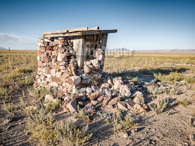 Stone-covered outhouse, Warm Springs, Nev.