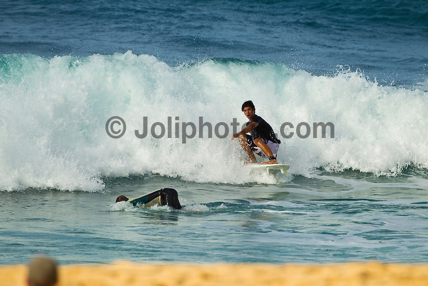 Haleiwa Hawaii, (Friday December 3, 2010) Gabriel Medina (BRA).  .Three to four foot north swell with strong North East Trade winds were the conditions for today's sessions at Off The Wall and Backdoor..Photo: joliphotos.com