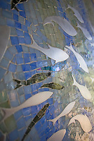 Closeup detail of custom jewel glass mosaic panel &quot;Ellen's Fish&quot;<br />