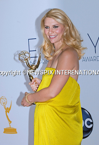 "CLAIRE DAINES(Best Actress) - 64TH PRIME TIME EMMY AWARDS.Nokia Theatre Live, Los Angelees_23/09/2012.Mandatory Credit Photo: ©Dias/NEWSPIX INTERNATIONAL..**ALL FEES PAYABLE TO: ""NEWSPIX INTERNATIONAL""**..IMMEDIATE CONFIRMATION OF USAGE REQUIRED:.Newspix International, 31 Chinnery Hill, Bishop's Stortford, ENGLAND CM23 3PS.Tel:+441279 324672  ; Fax: +441279656877.Mobile:  07775681153.e-mail: info@newspixinternational.co.uk"