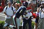 Ole Miss wide receiver Melvin Harris (5) majes a first quarter touchdown grab at Vaught-Hemingway Stadium in Oxford, Miss. on Saturday, September 4, 2010.