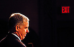Manchester, New Hampshire, USA, 20040126; An exit sign is glowing in the background as Howard Dean holds a speach at a rally at Palace Theater in Manchester.<br />
