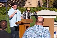 Julio Perez speaks at the Occupy Orange County, Irvine camp on November 5.