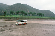September, 1985. Shaanxi Province, China. Area of Wuqi under a heavy flood.