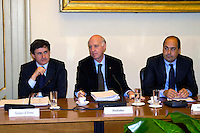 Rome May 7 2008.Provincial committee for the Order and Security.The mayor of Rome Gianni Alemanno  with  the president of the province in Rome Nicola  Zingaretti  and the prefect of Rome Carlo Mosca