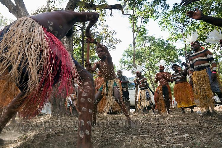 Indigenous dancers from the Aurukun community performing at the Laura Aboriginal Dance Festival.  Laura, Queensland, Australia
