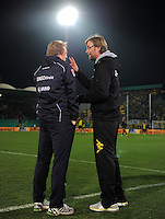 FUSSBALL   DFB POKAL   SAISON 2011/2012   HALBFINALE SpVgg Greuther Fuerth - Borussia Dortmund                  20.03.2012 Trainer Mike Bueskens (li, Greuther Fuerth) mit Trainer Juergen Klopp (Borussia Dortmund)