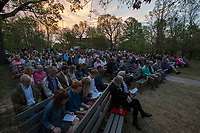 NWA Democrat-Gazette/J.T. WAMPLER Guests worship Sunday April 16, 2017 as the first light of day paints the eastern sky at the 94th Annual Easter Sunrise Service at Mount Sequoyah in Fayetteville. Several hundred people attended the annual service at the Mount Sequoyah Retreat and Conference Center.
