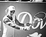 Samantha Stosur hits a back hand against Elena Vesnina during the 2011 Family Circle Cup at Daniel Island.