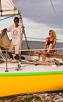 Couple sailing in Tahiti