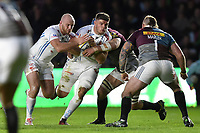 Dave Ewers of Exeter Chiefs takes on the Harlequins defence. Aviva Premiership match, between Harlequins and Exeter Chiefs on April 14, 2017 at the Twickenham Stoop in London, England. Photo by: Patrick Khachfe / JMP