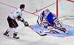 24 January 2009: New York Rangers goaltender Henrik Lundqvist makes a save on Anaheim Ducks defenseman Scott Niedermayer in the Elimination Shootout of the NHL SuperSkills Competition, during the All-Star Weekend at the Bell Centre in Montreal, Quebec, Canada. ***** Editorial Sales Only ***** Mandatory Photo Credit: Ed Wolfstein Photo