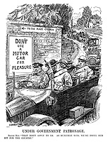 """Under Government Patronage. Racing Man. """"That don't apply to us. As Runciman says, we're doing our bit for the country."""" (motorists pass signs which read To The Race Course - Don't Use A Motor Car For Pleasure during WW1)"""