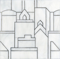 Cityscape, a glass waterjet mosaic shown in Moonstone, is part of the Erin Adams Collection for New Ravenna Mosaics.<br />