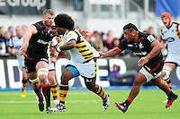 Ashley Johnson of Wasps takes on the Saracens defence. Aviva Premiership match, between Saracens and Wasps on October 9, 2016 at Allianz Park in London, England. Photo by: Patrick Khachfe / JMP