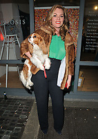 Meredith O'Shaughnessy with her pet dog at the &quot;Morphosis&quot; exhibition private view, Gallery Different, Percy Street, London, England, UK, on Wednesday 19 April 2017.<br /> CAP/CAN<br /> &copy;CAN/Capital Pictures