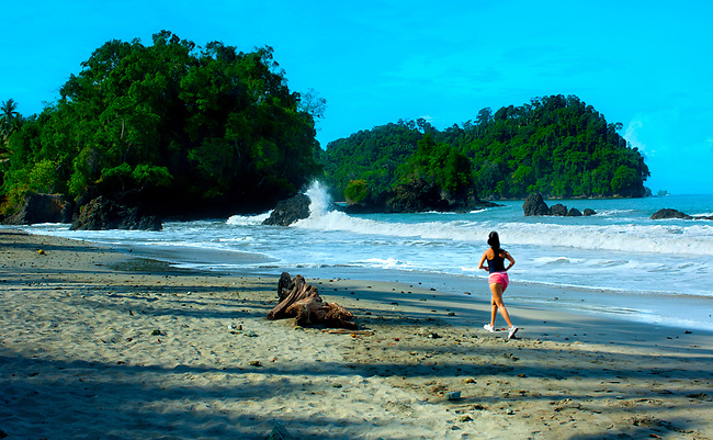 Costa Rica, Manuel Antonio National Park, Pacific Ocean, Early Morning Jogger, Beach, Rainforest Meets The Sea