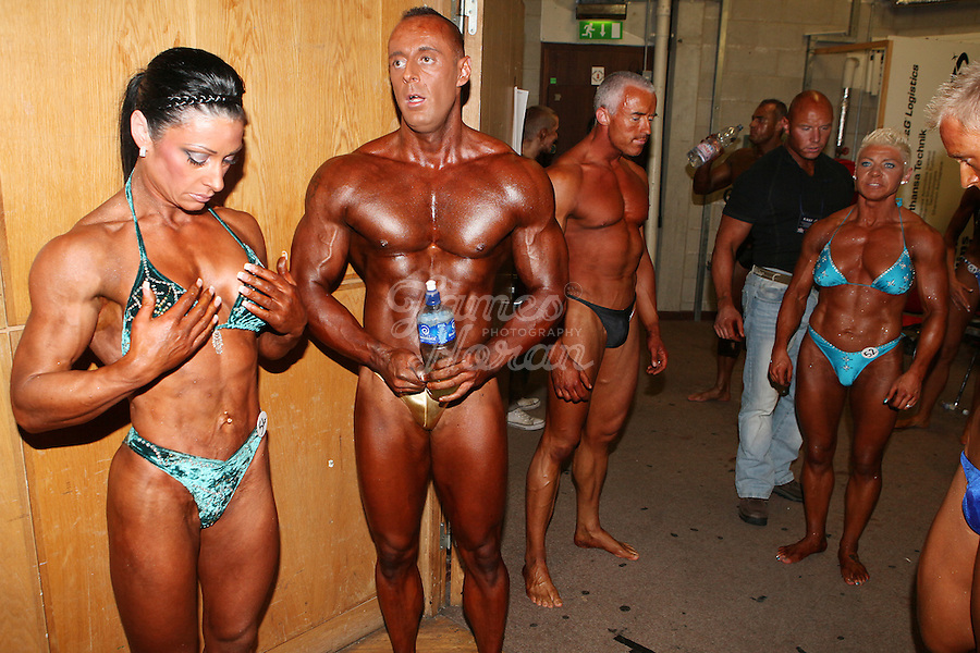 23/10/2010. Irish female physique and figure fitness national championships.  Sophia Mc Namara (1st place winner) and her boyfriend David Cassidy (winner of the Classic bodybuilding category) from Limerick are pictured backstage during the female physique category as part of the 2010 RIBBF national bodybuilding championships at the University of Limerick Concert Hall, Limerick, Ireland. Picture James Horan.