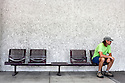 WA09672-00...WASHINGTON - Bench seats on the Washington State University campus.