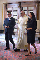 Pope Francis meets with Peru's President Ollanta Humala during a private audience at the Vatican on November 14, 2014.