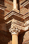 Corinthian columns of the Bath Gymnasium complex of Sardis, a typical example of the colonnaded palaestra front of a Hellenistic 1st cent. AD Greco Roman baths of the western &amp; southern region of Anatolia. Sardis archaeological site, Hermus valley, Turkey. A Harvard Art Museum excavation project.