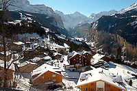 Swiss ski chalets at Wengen - Swiss Alps - Switzerland