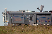 Cannon Ball, North Dakota<br /> September 26, 2016<br /> <br /> Police surveillance vehicle less than 1 mile from the  Standing Rock Sioux encampment near the construction of the Dakota Access Pipeline stands against the construction of the new pipeline. <br /> <br /> The Standing Rock Sioux, whose tribal lands are a half-mile south of the proposed route, say the pipeline would desecrate sacred burial and prayer sites, and could leak oil into the Missouri and Cannon Ball rivers, on which the tribe relies for water.<br /> <br /> Opposition to the pipeline has drawn support from 200 Native American tribes, as well as from activists and celebrities. <br /> <br /> Energy Transfer Partners&mdash;one of the major stakeholders in the controversial Dakota Access pipeline&mdash;bought over 6,000 acres of land surrounding the line&rsquo;s route in North Dakota, according to several media reports over the weekend.