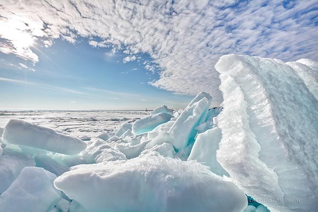 Marquette Mi, Upper Harbor, Breakwall, blue, ice, slabs