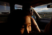 Eres drives with friends in Tuva Republic, Russia