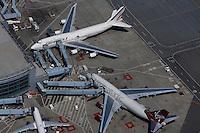 aerial photograph Virgin Atlantic, Air France, San Francisco International airport SFO